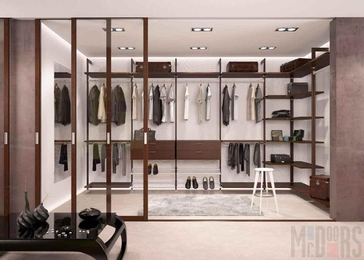Spacious wardrobe design with sliding doors