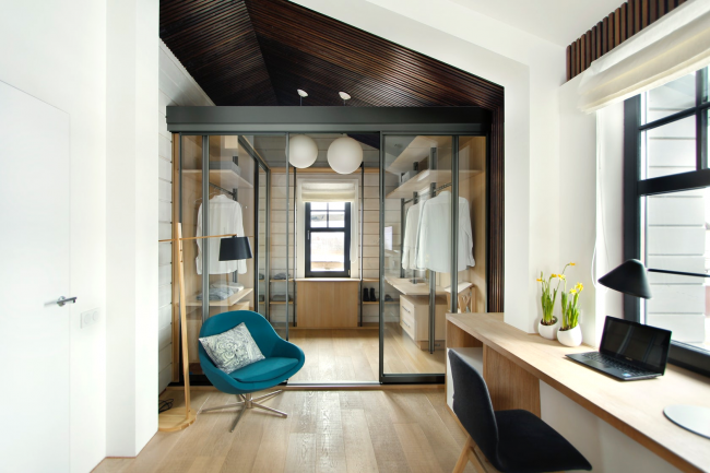 Wardrobe, separated by glass doors, suitable for a modern interior.