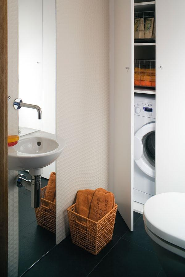 You can take a place for laundry right in the bathroom combined.