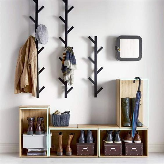 entryway storage and coat rack