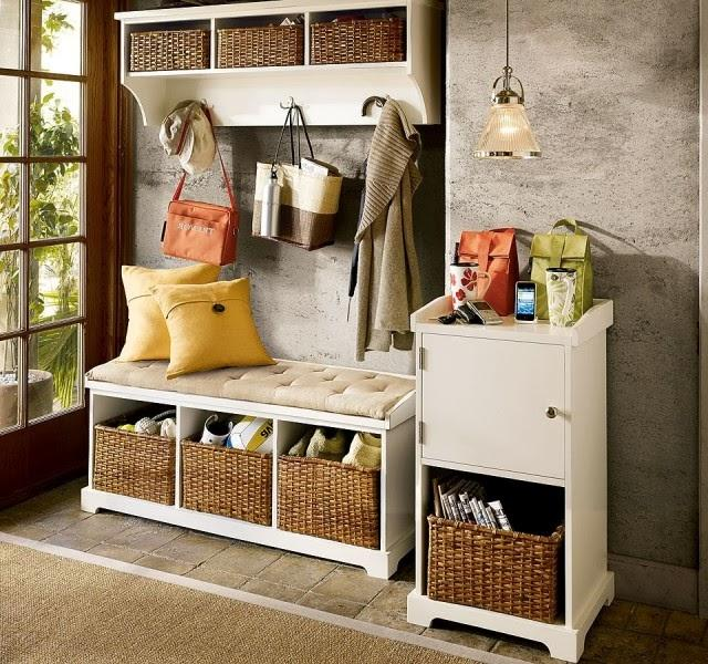 entryway storage with wicker baskets