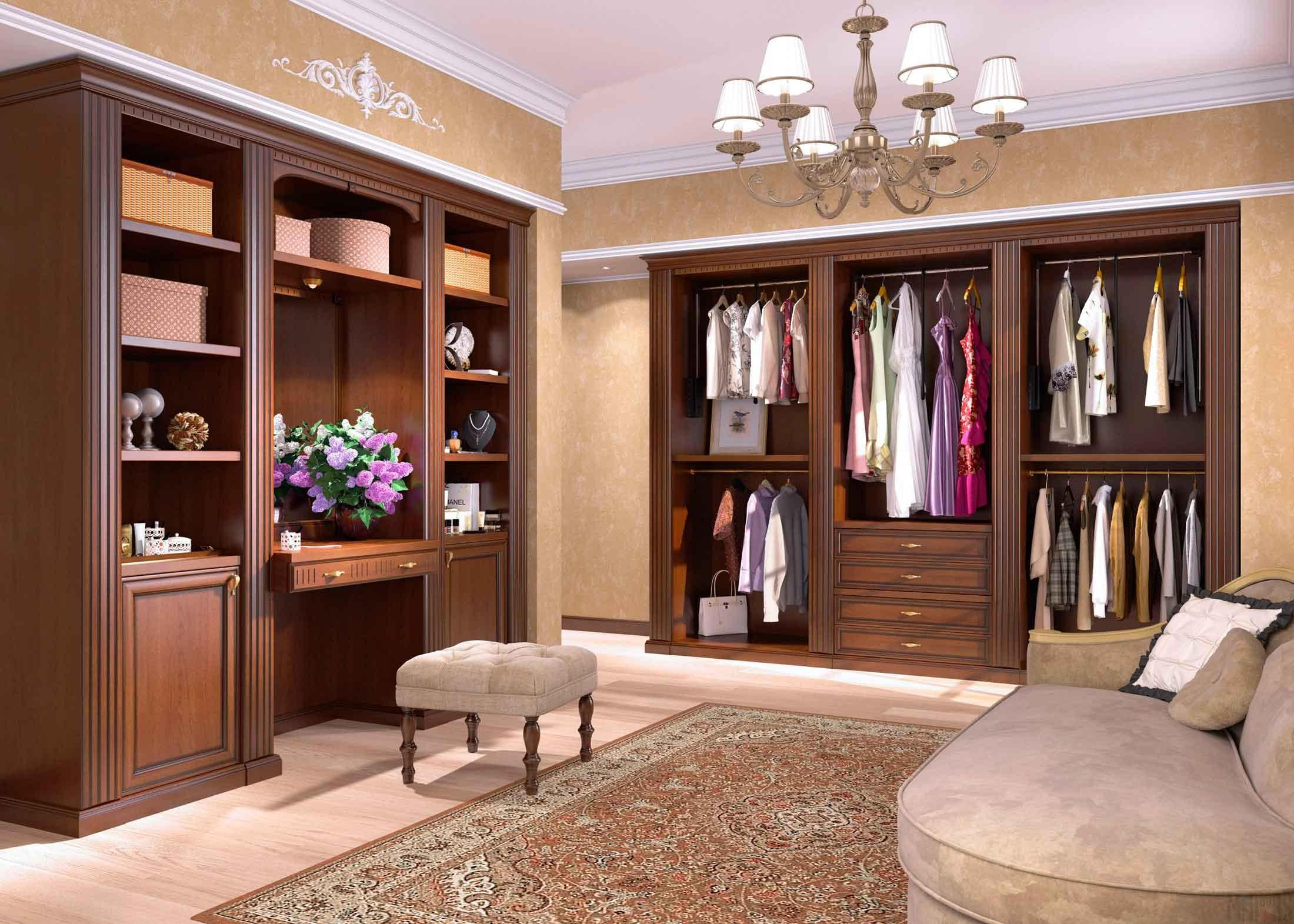 interior of the dressing room in the style of Italian classics