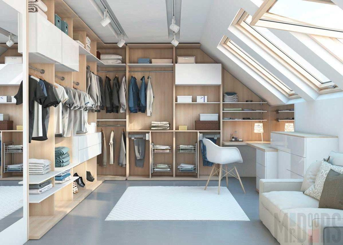 organization of a spacious spacious dressing room in the attic