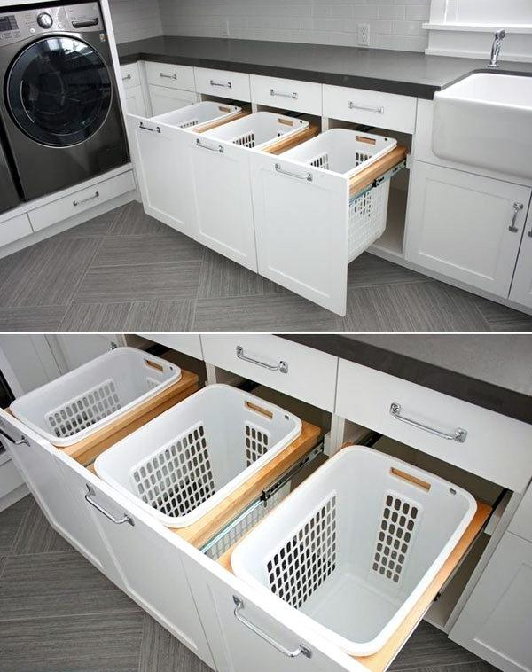 sorting laundry baskets in the laundry room