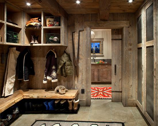 storing things and shoes in a rustic-style house