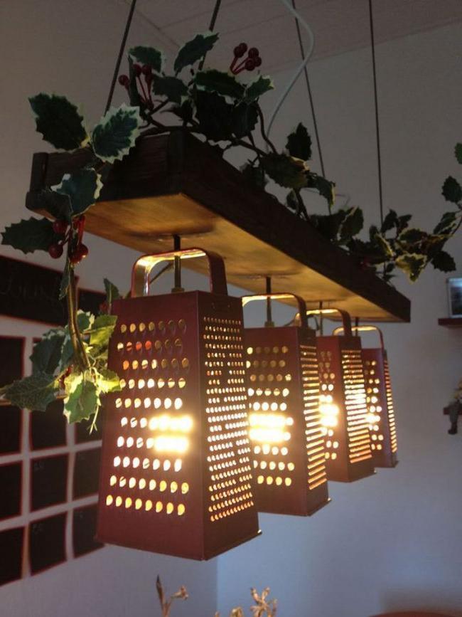 DIY ceiling lamp made of wood and metal graters.