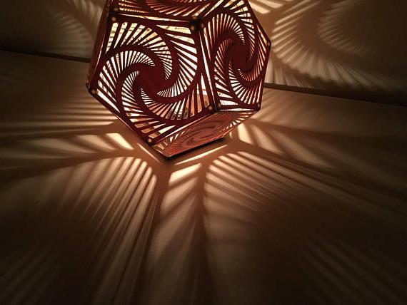 LED wall lamp made of plywood.