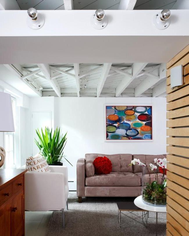 Painted wooden ceiling in a loft style apartment