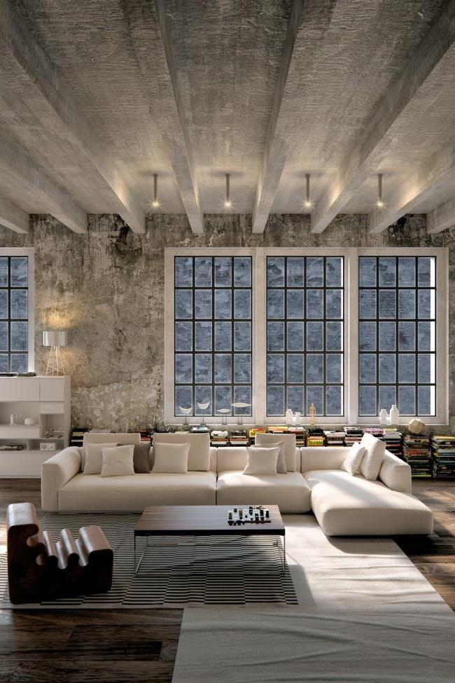 loft style studio with concrete painted ceiling