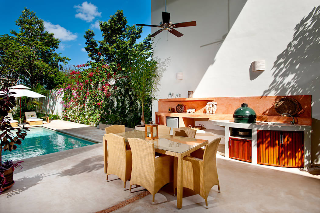 An outdoor but covered kitchen