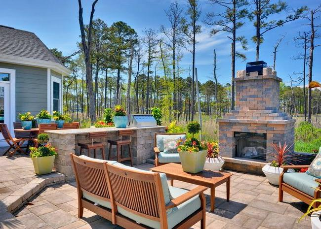 Beautiful classic-style courtyard with barbecue