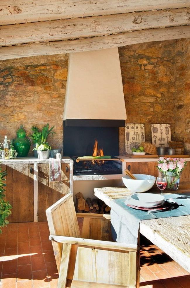 Cozy kitchen with barbecue grill