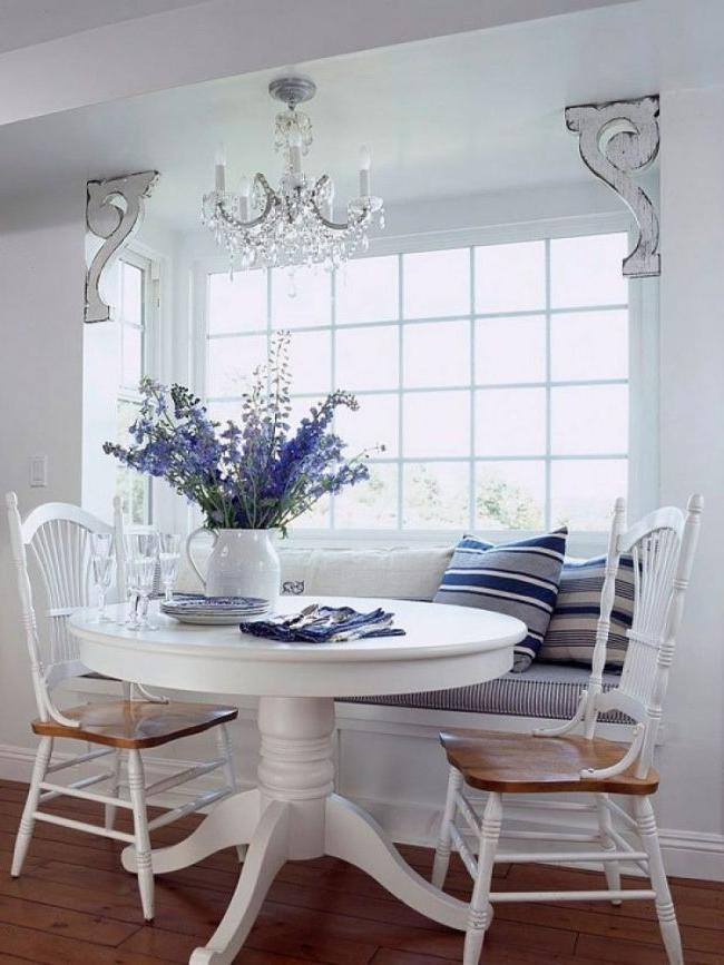 White laminated kitchen table in provence style