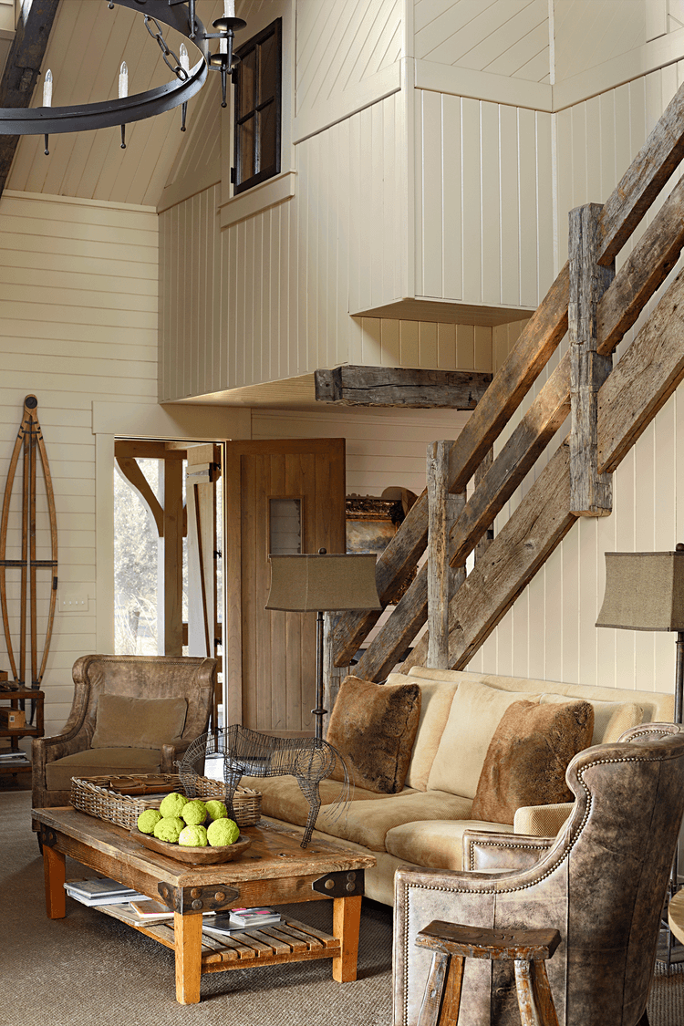 A great combination of wooden railings and rustic style interiors