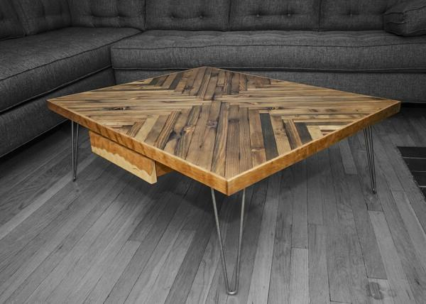 A real work of art - an elegant low coffee table made of wood