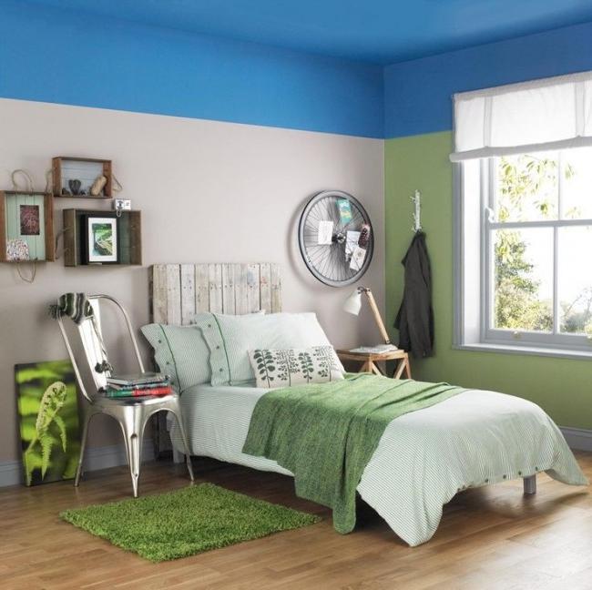 Beautiful sky-blue bedroom