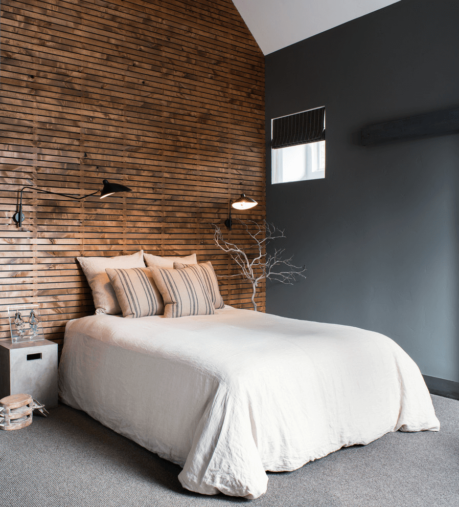Black wall lights on the background of natural wood