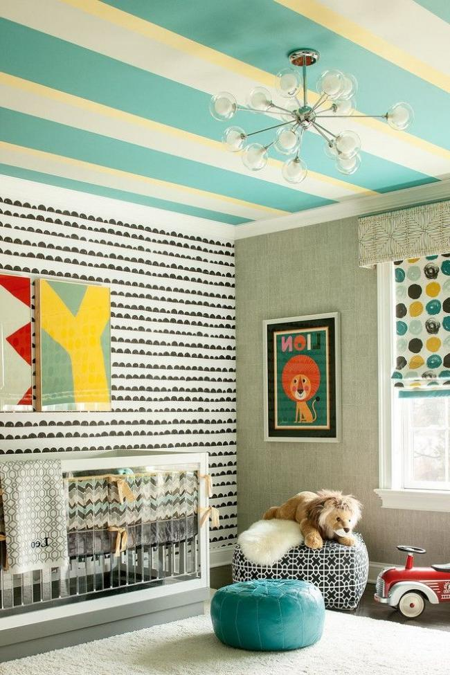Children's room with a ceiling painted in a cheerful strip with water-based paint