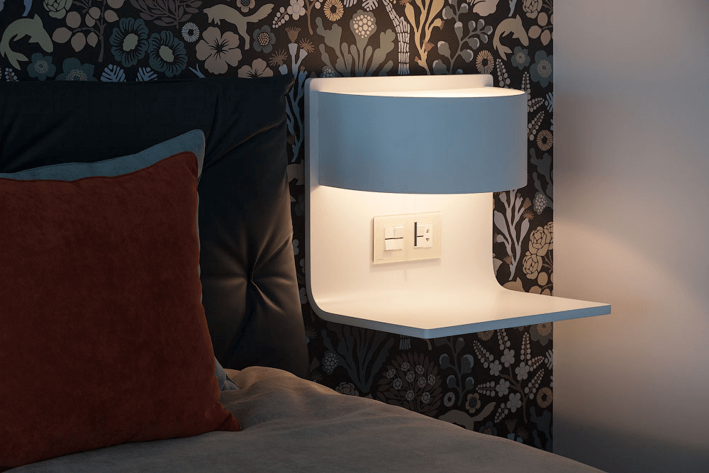 Comfortable bedside lamp with shelf