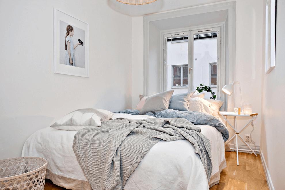 Compact bedroom with Scandinavian design