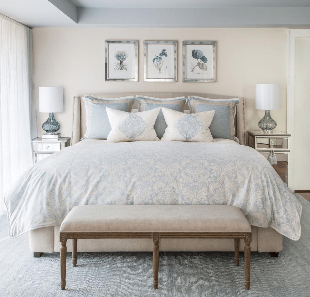 Cozy bedroom decorated in beige tones