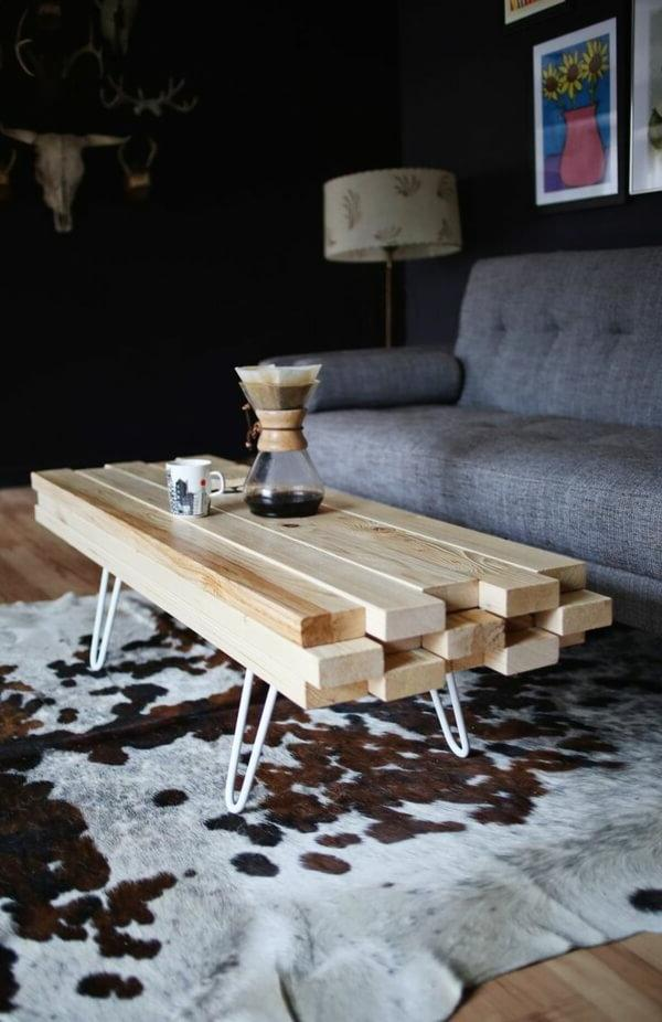 Do-it-yourself coffee table made of wood