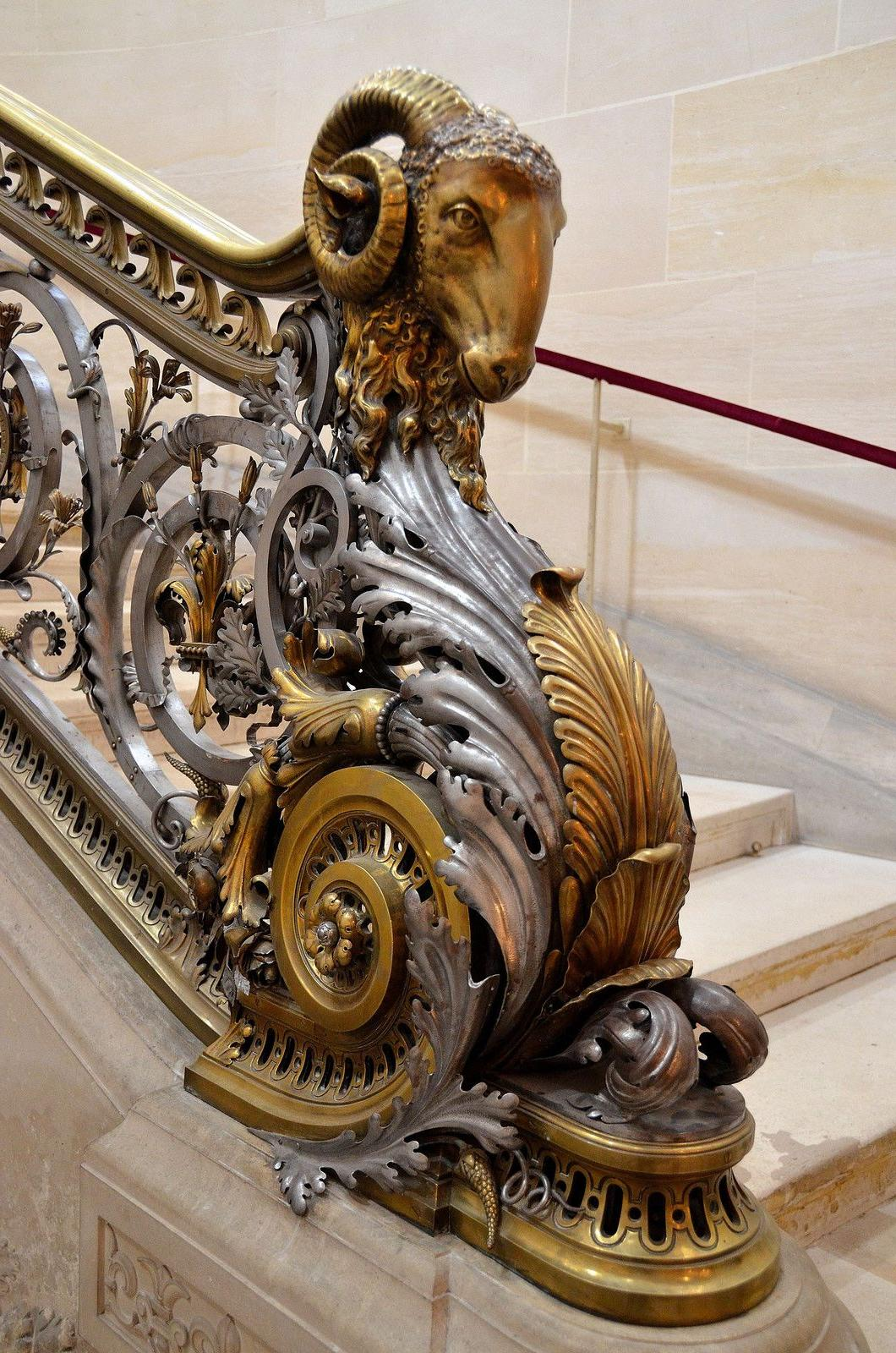 Forged railing on the stairs will get additional charm if you use the finish in the form of gold, silver or platinum
