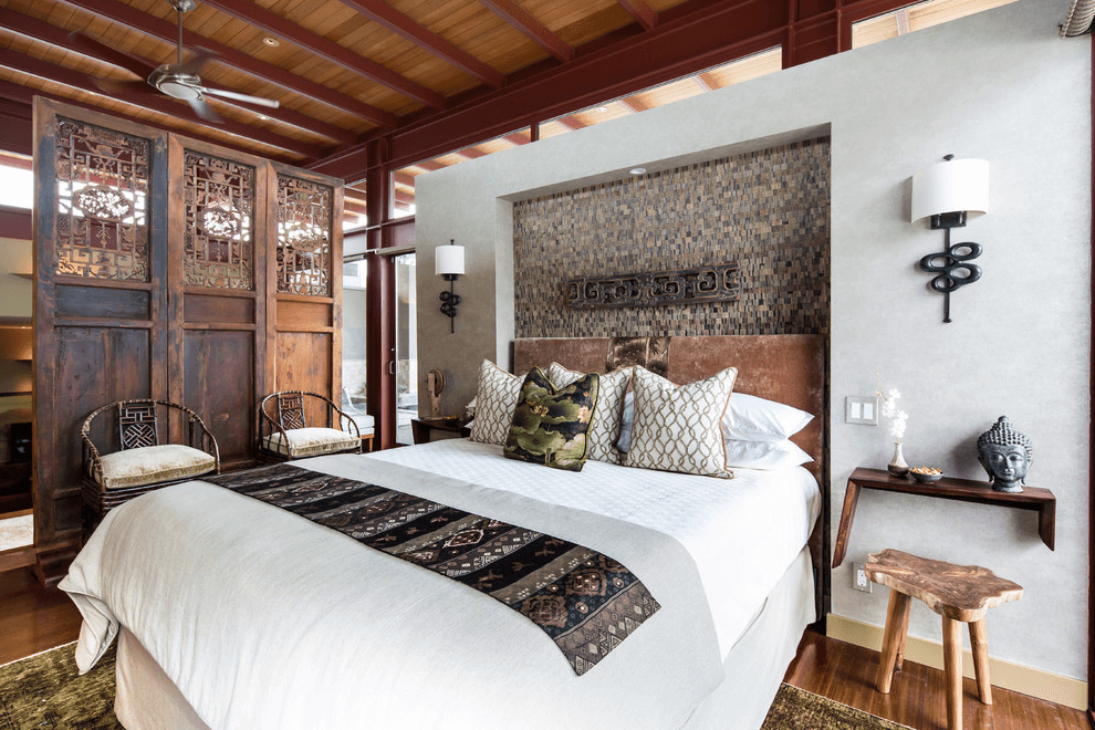 Harmonious interior of a bedroom decorated in oriental style