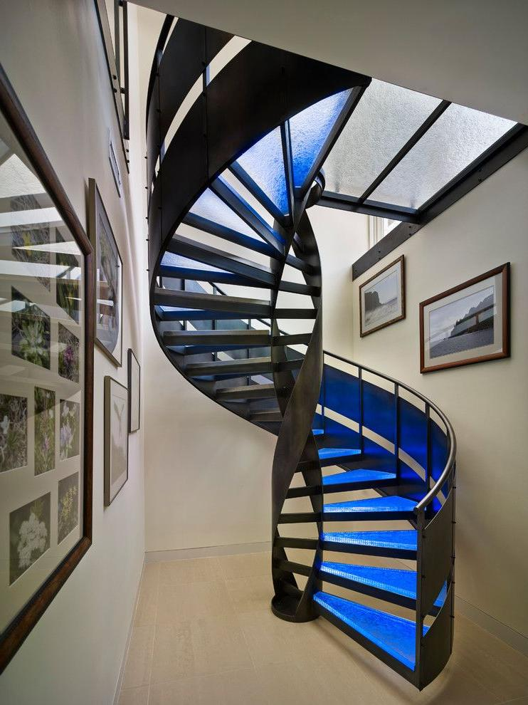 High tech staircase with metal railing
