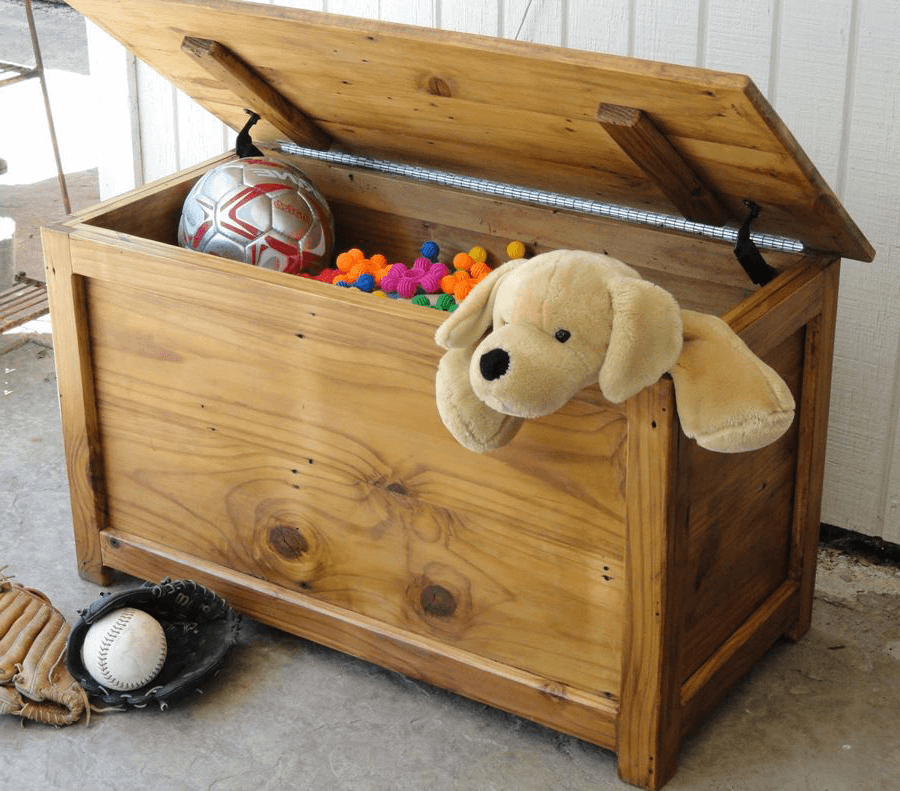 Homemade chest in the nursery for toys