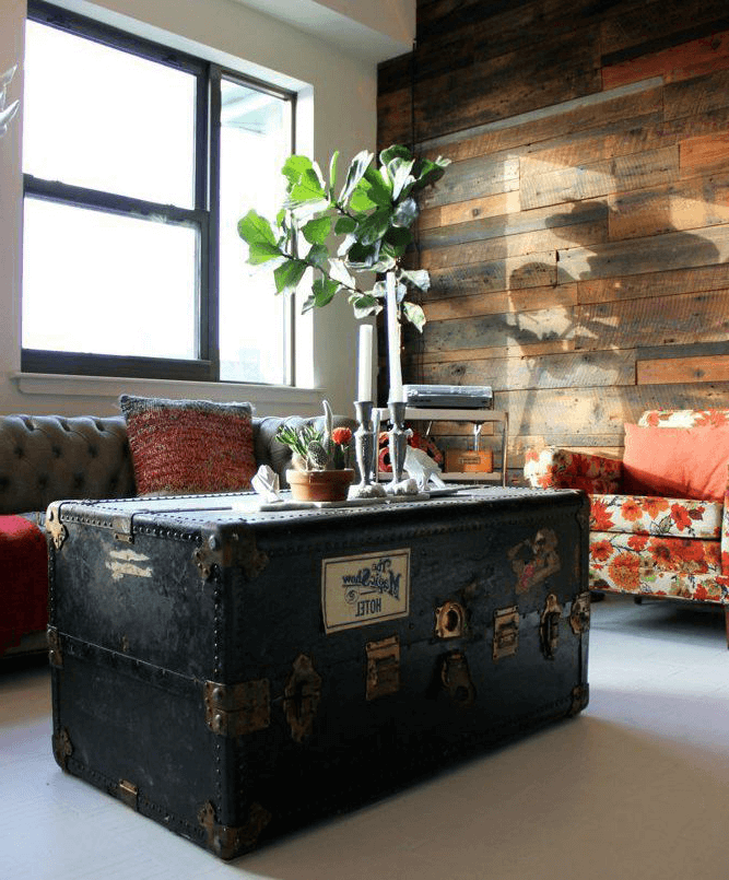 Large Aged Leather Chest