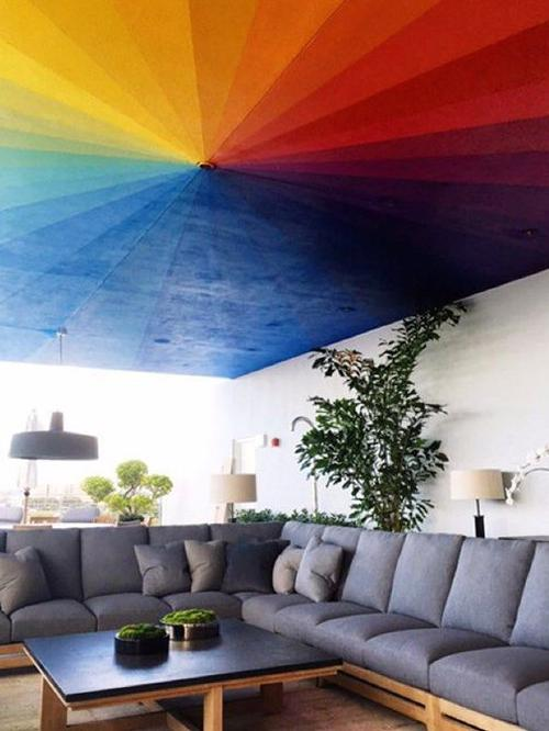 Rainbow painted ceiling