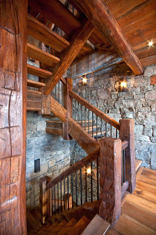 Rustic style wooden railing