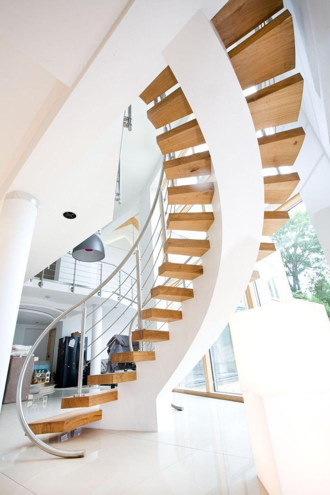 Stainless steel railings blend harmoniously into a modern interior