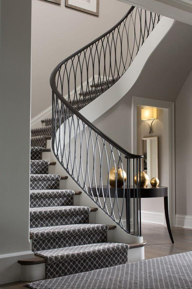 Staircase with elegant art deco railing