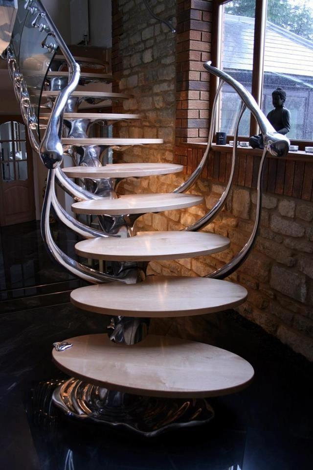 Very stylish railing in the form of spreading mercury