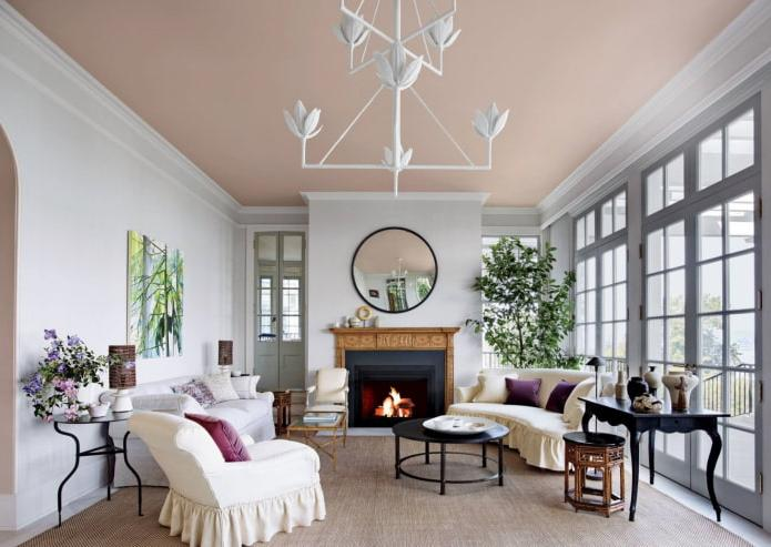 a living room with a ceiling painted in pale pink