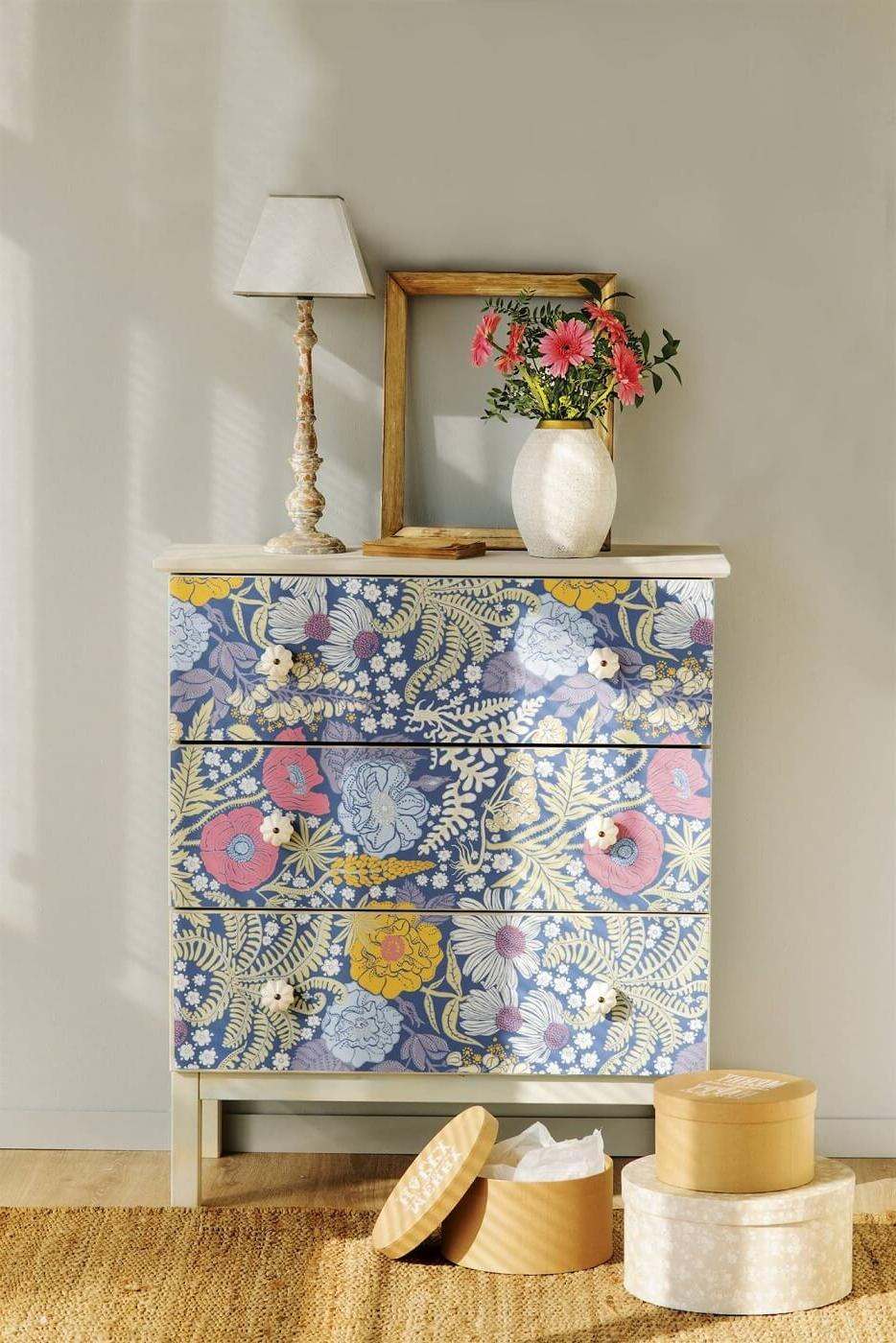 chest drawer with a wallpaper