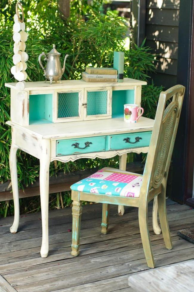 Beautiful furniture in country style with the effect of light rubbing