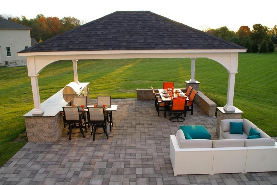 Classic gazebo with gambrel roof