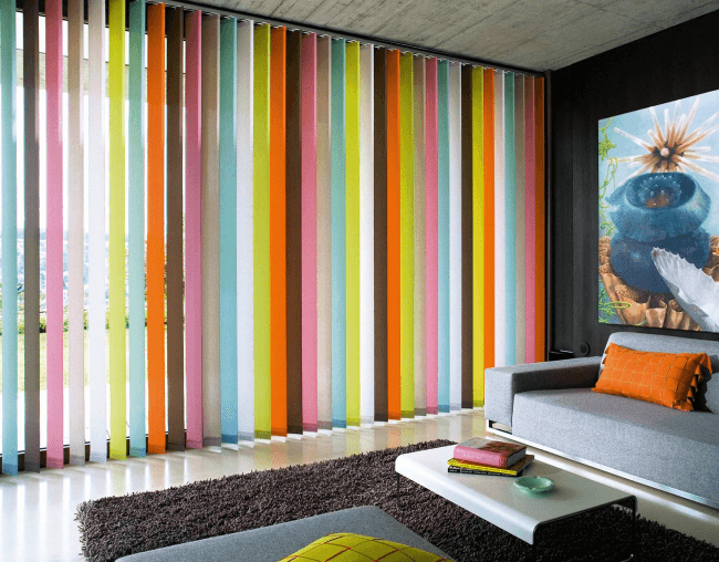 Colorful blinds in different colors