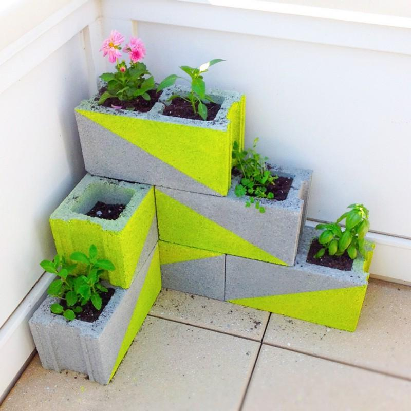 stacked concrete flower pots and planters ideas