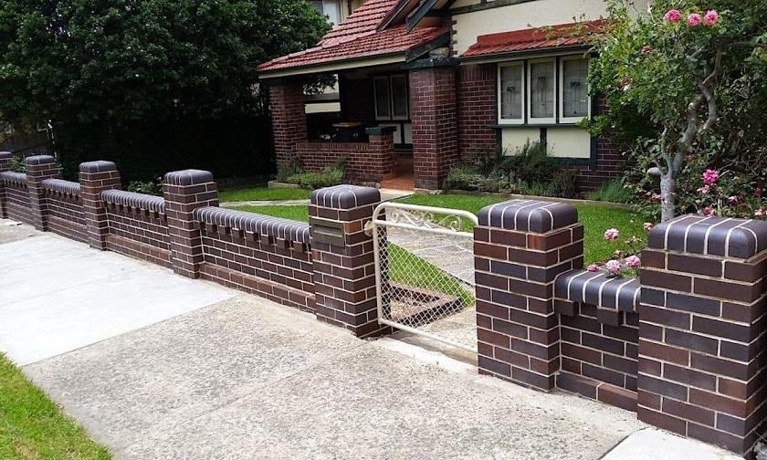 Decorative low brick fence