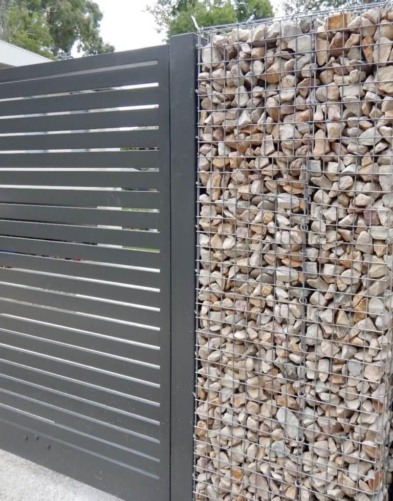 Gabion stone fencing