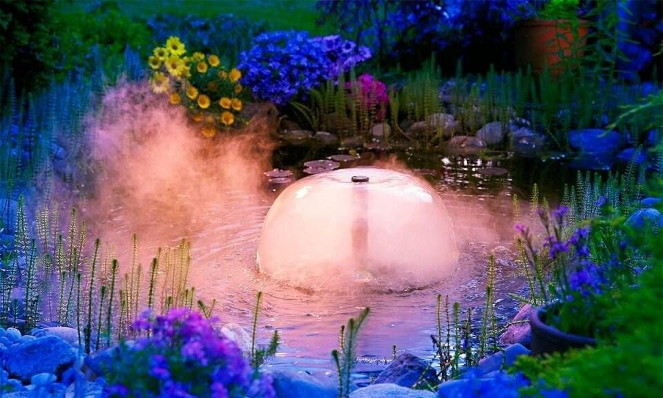 Magical Lit Pond With Fountain