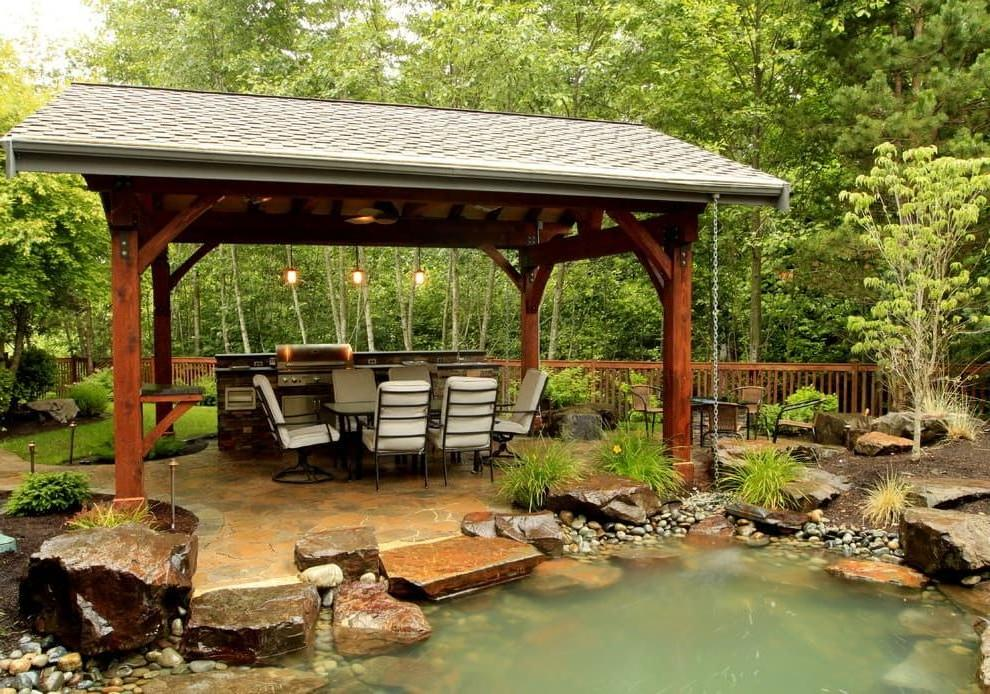 Outdoor gazebo on the background of a beautiful landscape