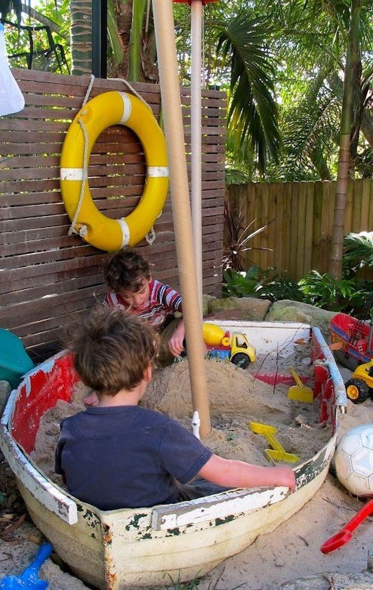 Sandbox made from old boat