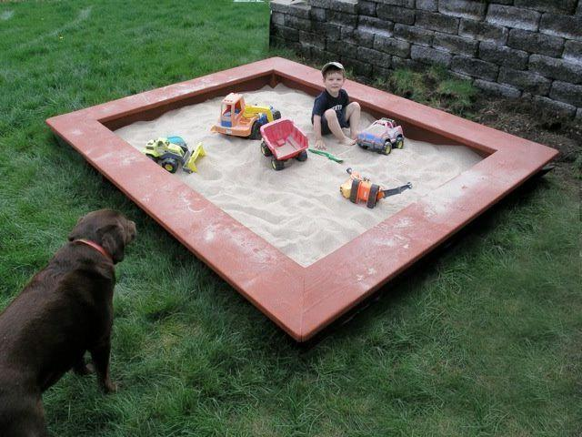 Simple square sandbox with wide side-seats