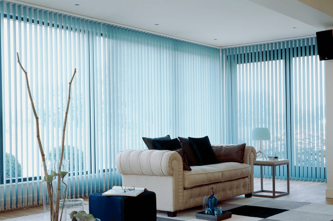 Soft blue blinds will make your interior more comfortable.
