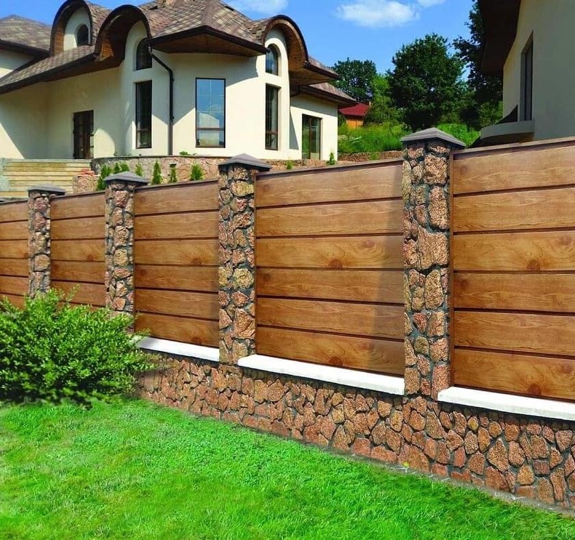 Solid wood fence in brown